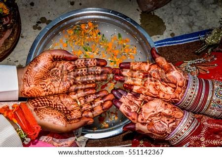 Mehndi Hands Couple : Mehndi on hands newly married hindu stock photo royalty free