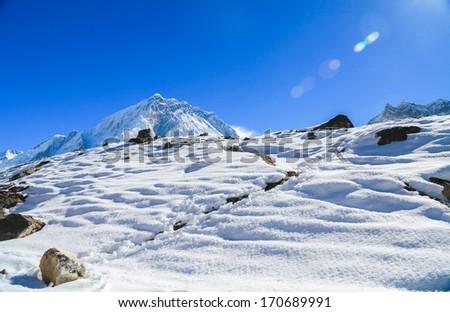 mehra peak summit beside of everest in everest trek - stock photo