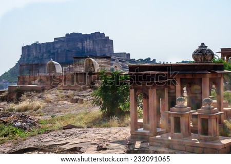 Mehrangarh fort as seen from Jaswant Thada, Jodhpur, Rajasthan, India - stock photo
