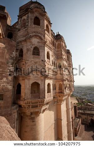 Mehrangarh Fort, Jodhpur (blue city), Rajasthan, India - stock photo