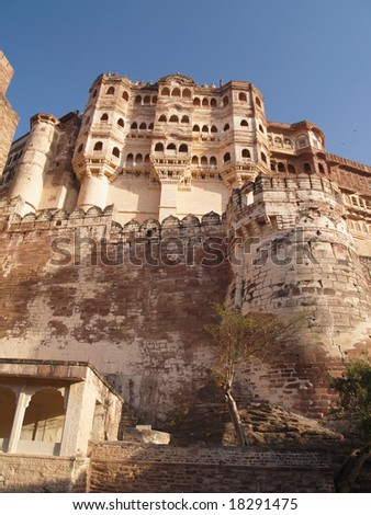 Mehrangarh Fort, located in Jodhpur city in Rajasthan state is one of the largest forts in India