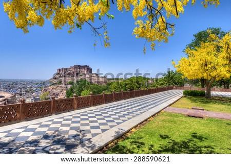 Mehrangarh Fort view from Jaswant Thada Jodhpur Rajasthan, India - stock photo