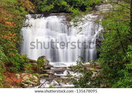 Meigs Falls is a beautiful waterfall along Little River Road in Great Smoky Mountains National Park, Tennessee, USA. - stock photo