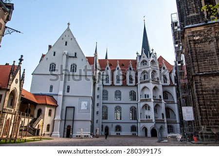 Meissen castle square and cathedral view. Albrechtsburg, the former residence of the House of Wettin, is regarded as being the first castle to be used as a royal residence - stock photo