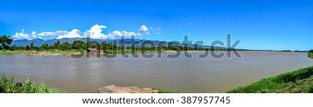 mekhong river landscape panorama view in sunny day in thailand