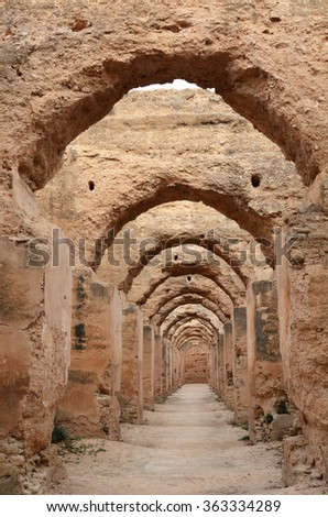 Meknes, Morocco - December 27, 2015: Moulay Ismailâ??s immense granaries and stables, Heri es-Souani in Meknes, Morocco.