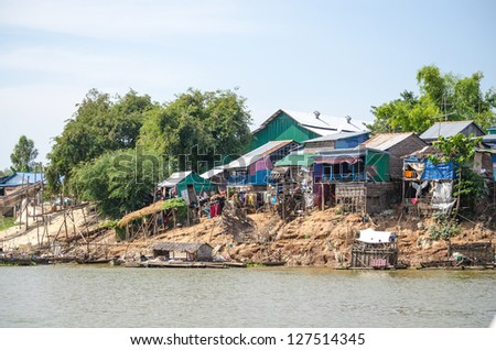 Mekong Delta, Cambodia - floating village at the riverside