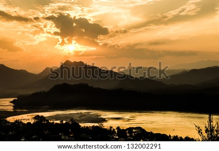Mekong River at Sunset - Luang Prabang, Laos - stock photo