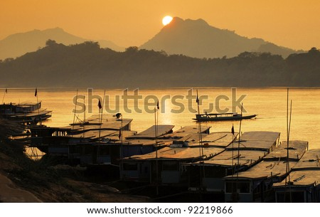 Mekong river,port, Luang Prabang, laos - stock photo