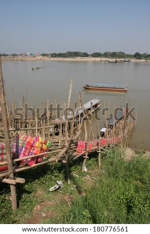 Mekong river,tradition port, Thailand  - stock photo