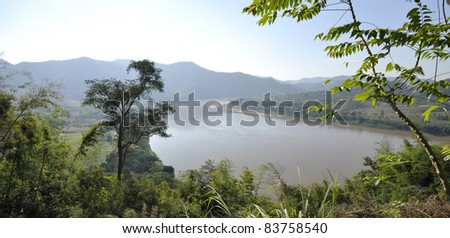 Mekong River View Nature Forest - stock photo