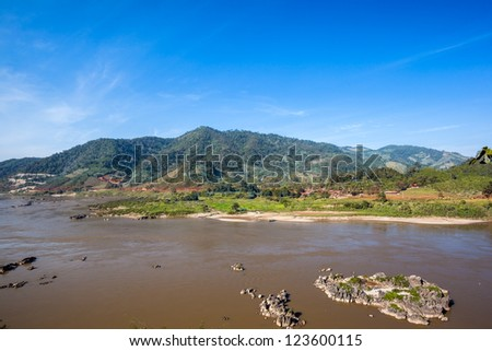 Mekong River view take from Chiang Khong ,Thailand - stock photo