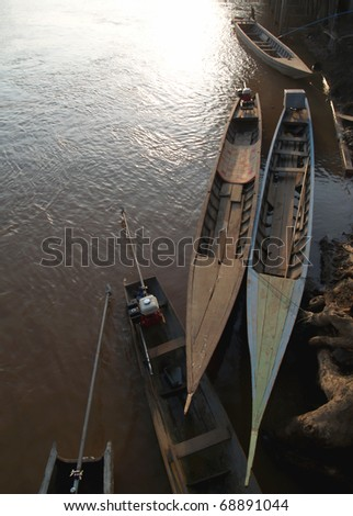 Mekong River with boat in Laos - stock photo
