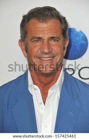 "Mel Gibson at the Los Angeles premiere of his movie ""Machete Kills"" at the Regal Cinemas LA Live. October 2, 2013  Los Angeles, CA - stock photo"