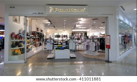 MELAKA, MALAYSIA - April 23, 2016. Polo Haus store inside Mahkota Parade Mall. Polo Haus is a Malaysian corporation in fashion-retail, stylish, quality apparel, footwear and accessories product.  - stock photo