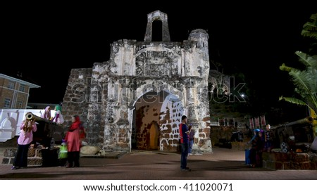 MELAKA, MALAYSIA, April 23, 2016: Portuguese colonial church monuments in Melaka town. Portuguese colonized Melaka from 1511 to 1641.  - stock photo
