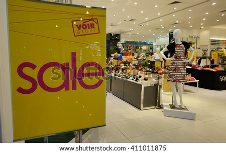 MELAKA, MALAYSIA - April 23, 2016. Voir store on sale inside Mahkota Parade Mall. VOIR Group is a Malaysian corporation in fashion-retail, stylish, quality apparel, footwear and accessories product.  - stock photo
