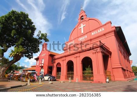 MELAKA, MALAYSIA - OCTOBER 29, 2013 : Christ Church, a historical building in Melaka city, Malaysia. - stock photo