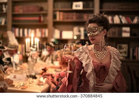 Melancholic girl at the party - stock photo