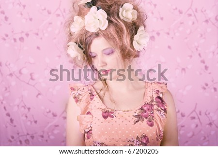 Melancholic portrait of a young woman - stock photo