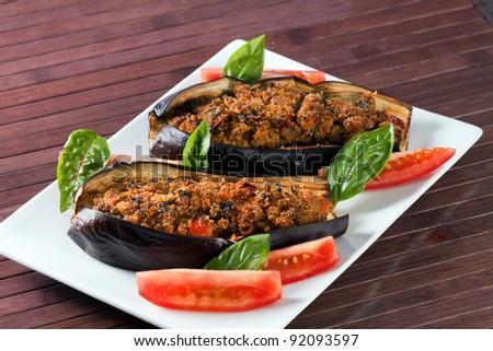 Melanzane ripiene al forno - Stuffed Eggplant oven baked - stock photo