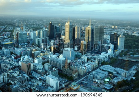 MELBOURNE - APR 14, 2014:Aerial view of Melbourne Victoria.Melbourne currently has over 4.25 million people and it's Australia's second largest city with a very diverse and multicultural population. - stock photo