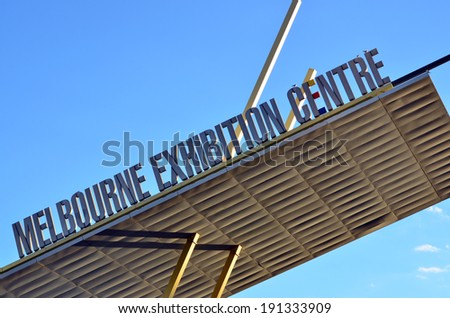 MELBOURNE - APR 14 2014:Melbourne Convention and Exhibition Center faced and roof. It's the largest and most versatile convention and exhibition space in the Southern Hemisphere. - stock photo
