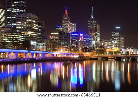 Melbourne at night - stock photo