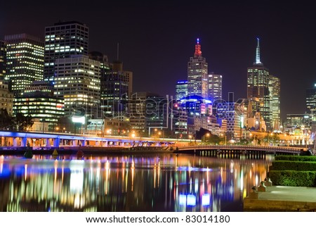 Melbourne at night, Australia - stock photo