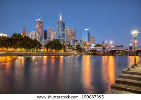 Melbourne at night from Southbank