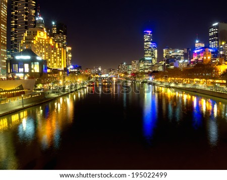 melbourne at night looking down the yarra river - stock photo