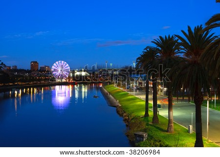 Melbourne at night, view on Yarra river - stock photo