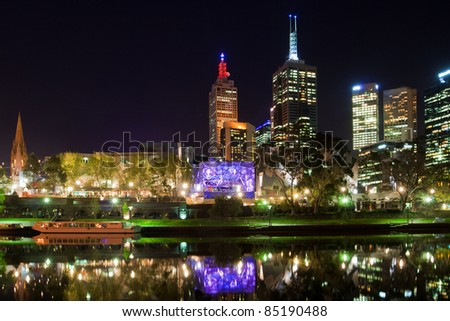 Melbourne at night with reflection in Yarra river, Australia