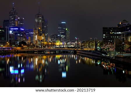 Melbourne at night, Yarra river - stock photo
