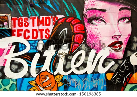 MELBOURNE - AUG 14: Street art by unidentified artist. Melbourne's graffiti management plan recognises the importance of street art in a vibrant urban culture - August 14, 2013 in Melbourne, Australia - stock photo