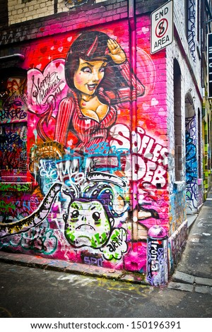 MELBOURNE - AUG 14: Street art by unidentified artist. Melbourne's graffiti management plan recognises the importance of street art in a vibrant urban culture - August 14, 2013 in Melbourne, Australia