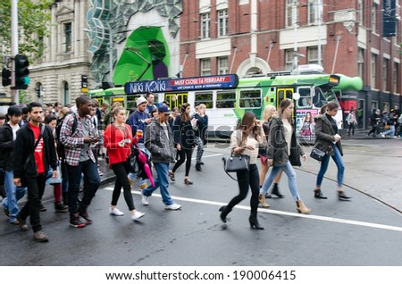 MELBOURNE, AUS - APR 10 2014:Traffic on Swanston Street.Since the 90s Melbourne have population and employment growth with international investment in the city's industries and property market. - stock photo