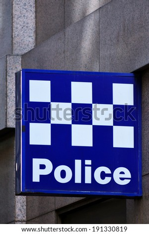 MELBOURNE, AUS - APR 14 2014:Victoria Police station.As of 2013, Victoria Police has over 12,539 sworn members across 325 police stations.It has a running cost of aprox. 2.1b $AUD (A$372 per resident) - stock photo
