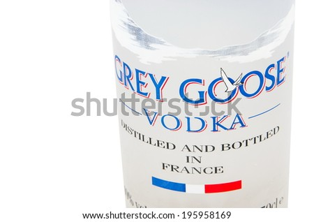 MELBOURNE, AUSTRALIA - APRIL 6,2014: Grey Goose vodka bottle...Grey Goose is a premium vodka brand produced in France - stock photo