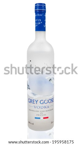 MELBOURNE, AUSTRALIA - APRIL 6,2014: Grey Goose vodka bottle. Grey Goose is a premium vodka brand produced in France - stock photo