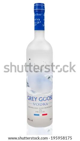 MELBOURNE, AUSTRALIA - APRIL 6,2014: Grey Goose vodka bottle. Grey Goose is a premium vodka brand produced in France - stock photo