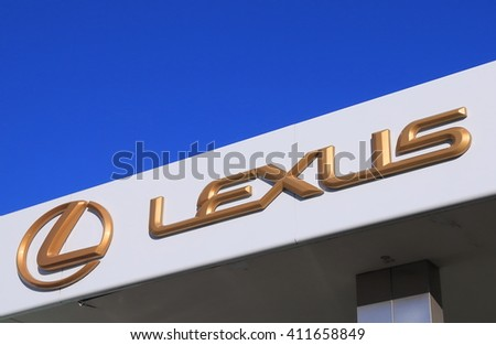 MELBOURNE AUSTRALIA - APRIL 24, 2016: Lexus car manufacturer.  Lexus is the luxury vehicle division of Japanese automaker Toyota which is marketed in over 70 countries worldwide.  - stock photo