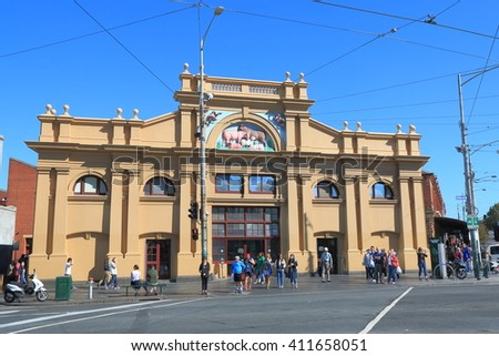 MELBOURNE AUSTRALIA - APRIL 24, 2016: Unidentified people vist Queen Victoria Market in Melbourne. Queen Victoria Market is the largest open air market in the Southern Hemisphere.  - stock photo