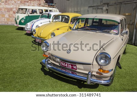 Melbourne, Australia - Aug 30, 2015: Several Volkswagen classic cars on display in a public car show in Melbourne, Australia