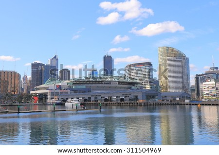 MELBOURNE AUSTRALIA - AUGUST 22, 2015: Melbourne cityscape and Docklands Harbour. Contemporary Docklands is the product of a Melbourne's ongoing urban renewal project.