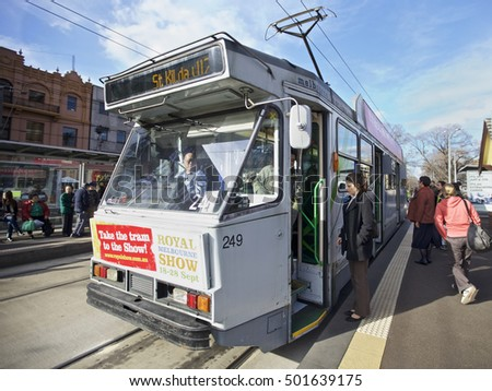 MELBOURNE, AUSTRALIA - AUGUST 17 2010: Melbourne tramway network is a major form of public transport in Melbourne, St Kilda area in Victoria, Australia