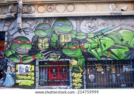 MELBOURNE, AUSTRALIA - AUGUST 28TH, 2014: Street art by unidentified artist. Melbourne local councils recognise the importance of street art in creating a vibrant city. - stock photo