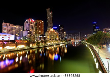 Melbourne, Australia, by night.  View of Yarra River towards Southbank. - stock photo