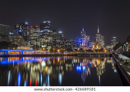 MELBOURNE, AUSTRALIA - CIRCA APRIL 2014: Skyline by night