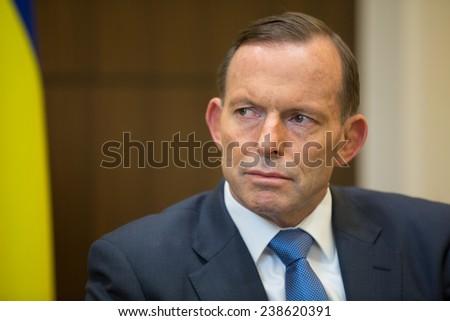 MELBOURNE, AUSTRALIA - DECEMBER 11, 2014: Australian Prime Minister Tony Abbott during a meeting with the President of Ukraine Petro Poroshenko in Melbourne  - stock photo